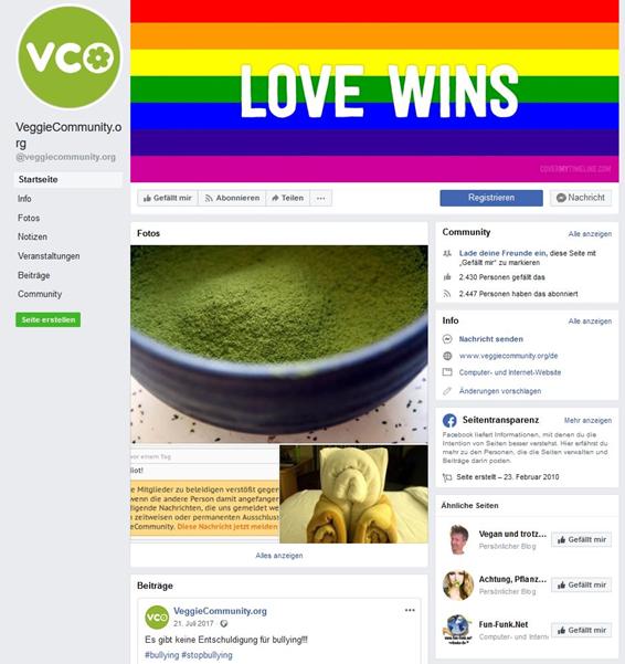 Das Portal veggiecommunity.org bietet auch eine Facebook-Fanpage an
