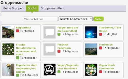Die Gruppenfunktion bei veggiecommunity.org erleichtert dir die vegane Partnersuche